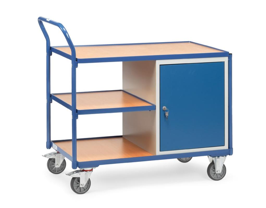 Fetra Tischwagen mit 1 Schrank und 3 Ladeflächen umlaufender Rand