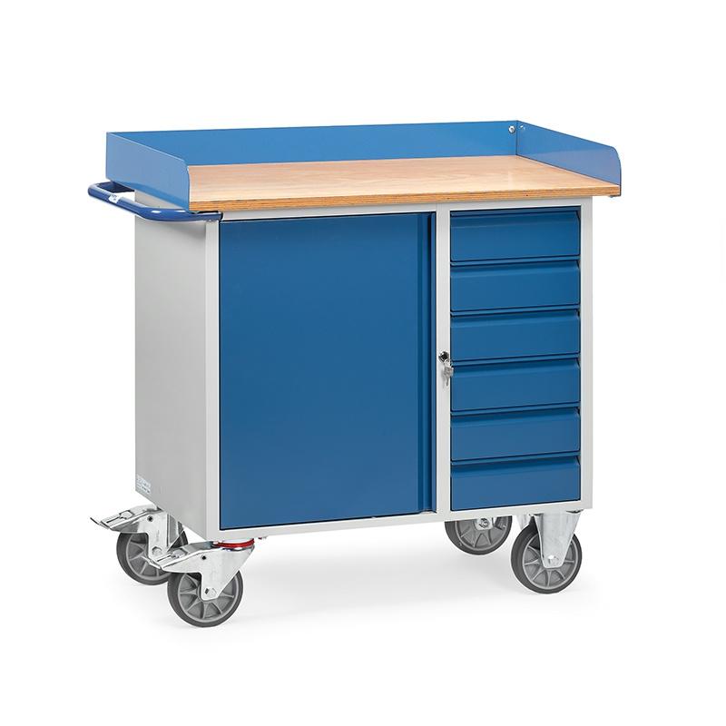 Fetra Werkstattwagen Mit 1 Schrank 6 Schubladen Arbeitsplatte Mit